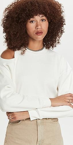 A.W.A.K.E MODE - Cropped Sweatshirt with Shoulder Cut Out