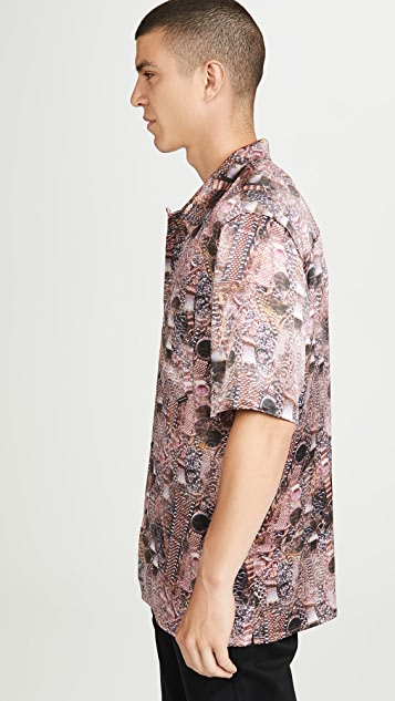 Alexander Wang Printed Silk Short Sleeve Shirt
