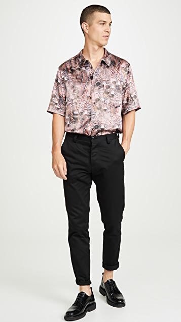 Alexander Wang Printed Silk Short Sleeve Shirt