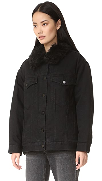 Alexander Wang Boyfriend Denim Jacket with Fur Lining
