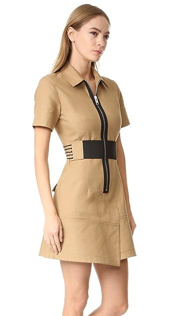 Alexander Wang Short Sleeve Safari Dress with Lacing