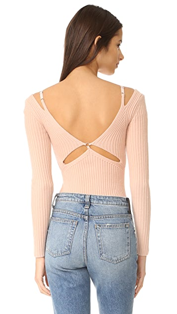 Alexander Wang Ribbed Lingerie Strap Sweater
