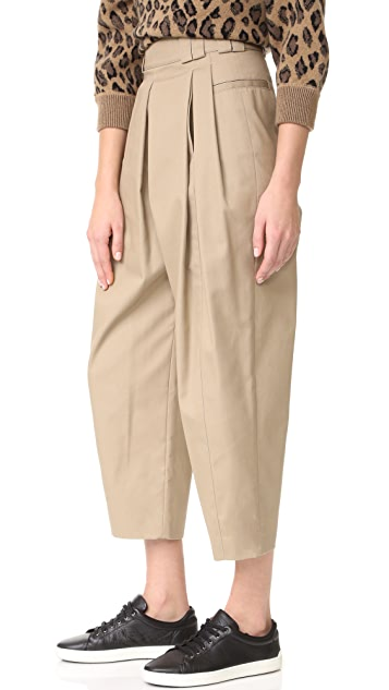 Alexander Wang High Waisted Pleat Front Pant with Belt Loop Detail