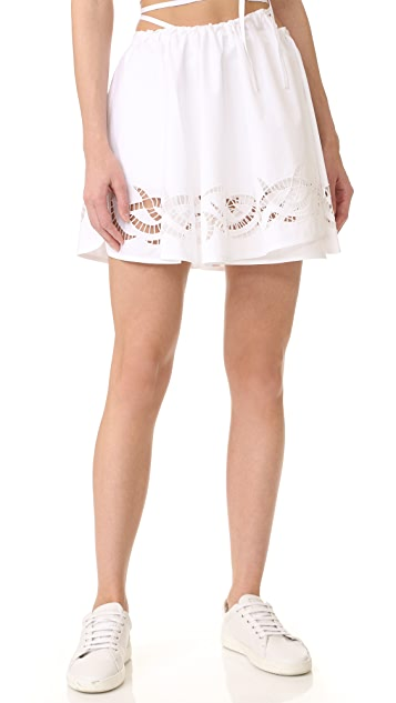 Alexander Wang Leather Stitched Wrap Skort