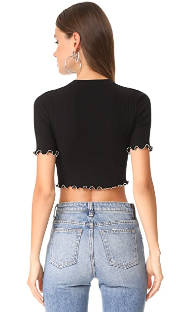 Alexander Wang Crop Top with Ball Chain Edges