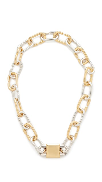Alexander Wang Broken Link Double Lock Necklace