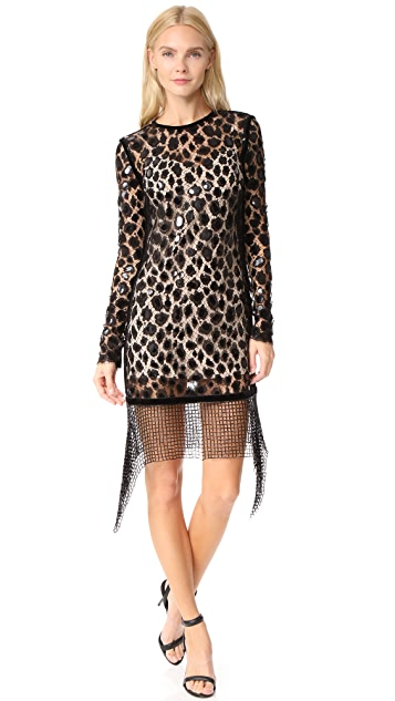 Alexander Wang Fitted Long Sleeve Dress with Scalloped Hem
