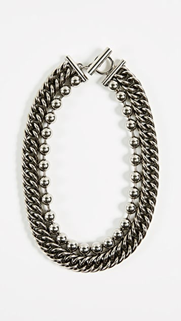 Alexander Wang Ball Chain Curb Chain Necklace
