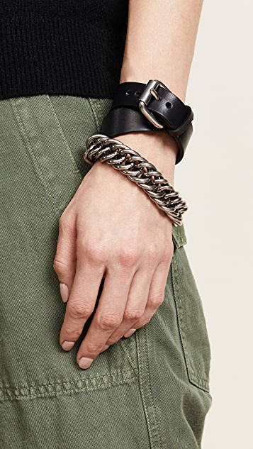 Alexander Wang Double Wrap Leather and Chain Bracelet