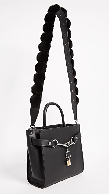 Alexander Wang Dome Cage Bag Strap with Rabbit Fur Pom Poms