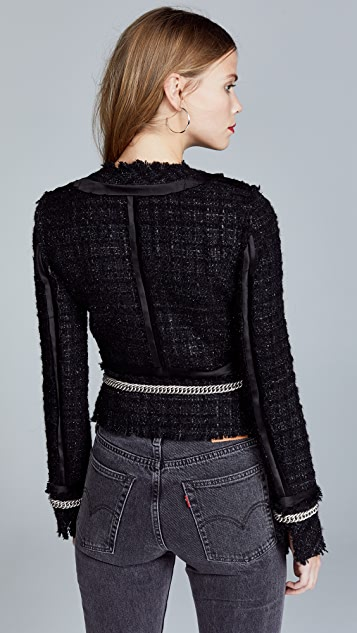 Alexander Wang Deconstructed Tweed Jacket with Chain Trim