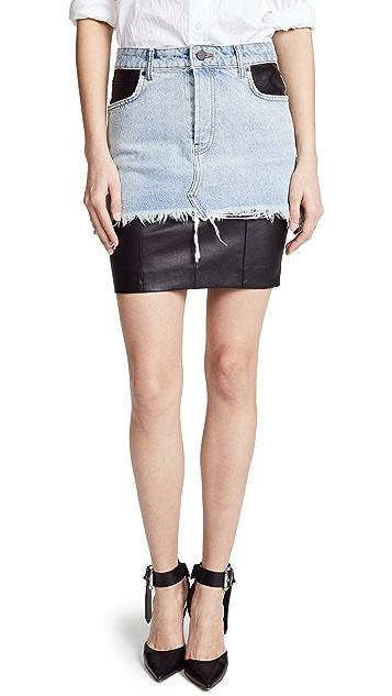 Alexander Wang Leather and Denim Hybrid Moto Skirt