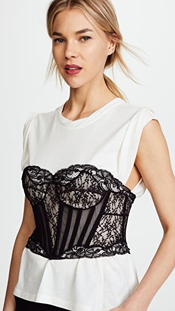 Alexander Wang Lace Bustier Trompe L'oeil Shirt