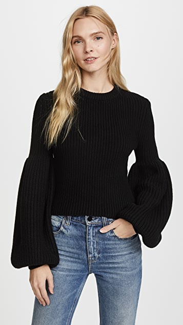 Alexander Wang Cropped Pullover with Engineered Rib Sleeves - Black