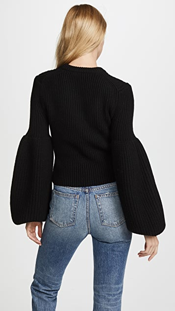 Alexander Wang Cropped Pullover with Engineered Rib Sleeves