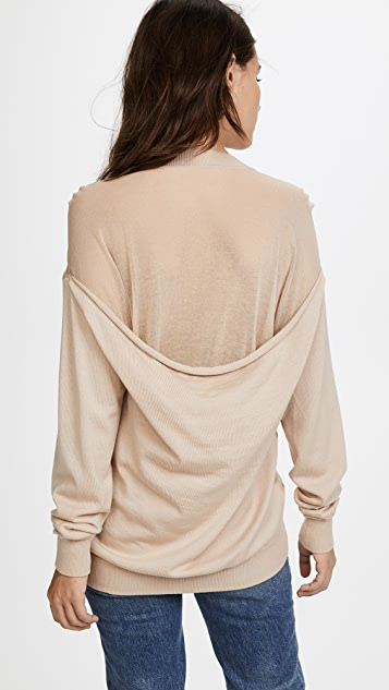 Alexander Wang Crew Neck Pullover with Sheer Peel Away Back Yoke - Champagne
