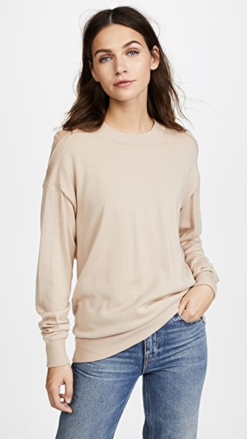 Alexander Wang Crew Neck Pullover with Sheer Peel Away Back Yoke