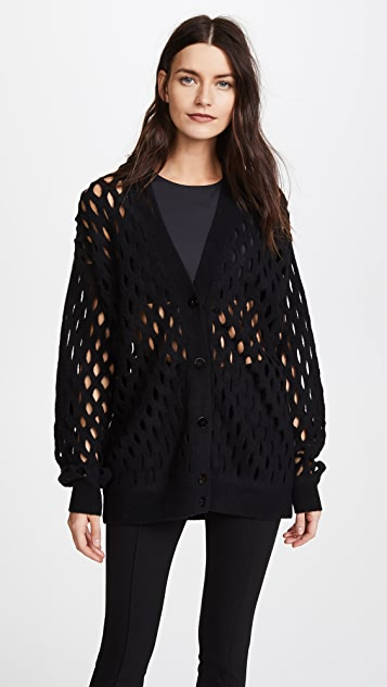 Alexander Wang Oversized Cardigan with Intarsia Fishnet - Black