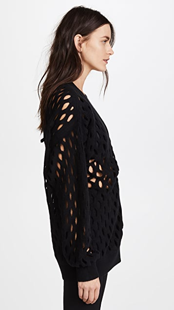 Alexander Wang Oversized Cardigan with Intarsia Fishnet