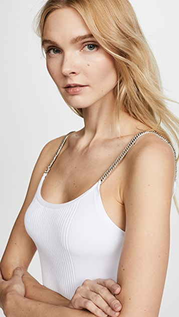 Alexander Wang Ribbed Tank with Chain Straps