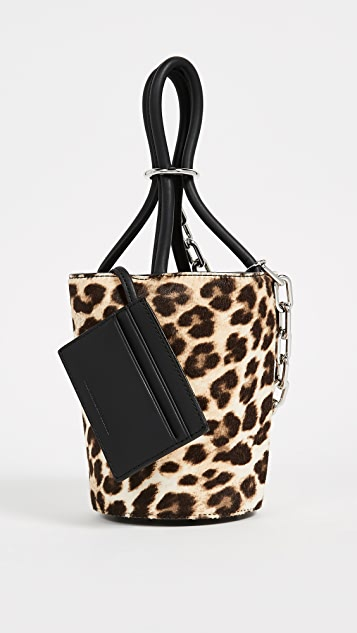 Alexander Wang Roxy Mini Bucket Dome with Leopard Print Pony Hair
