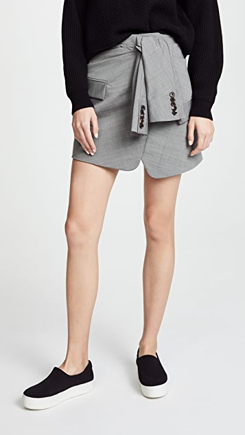Alexander Wang Tie Front Skirt - Grey