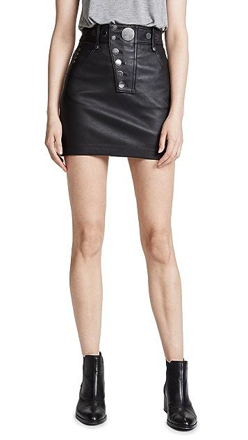 Alexander Wang Hybrid Leather/Denim Skirt