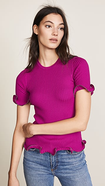 Alexander Wang Crew Neck Tee with Ruffle Zipper Hem