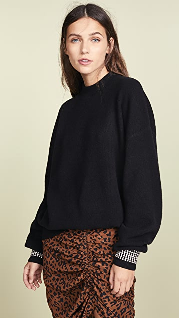 Alexander Wang Crew Neck Pullover With Crystal Cuffs