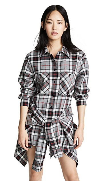 Alexander Wang Tie Front Romper with Shirt Detail