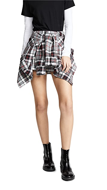 Alexander Wang Tie Front Skort with Shirting Detail