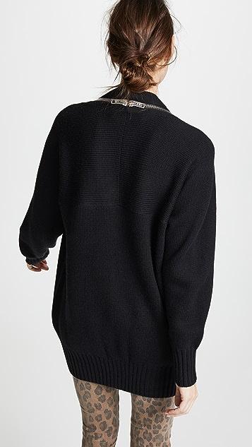 Alexander Wang V Neck Logo Zip Wool Cardigan