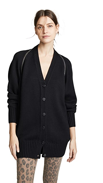V Neck Logo Zip Wool Cardigan by Alexander Wang