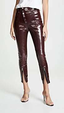 High Waist Leggings with Snap Detail in Oxblood