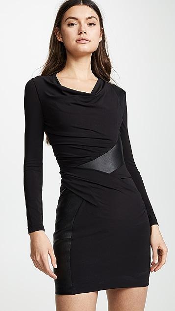 Alexander Wang Long Sleeve Leather Trim Mini Dress