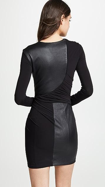 Alexander Wang Мини-платье с длинными рукавами и кожаной отделкой