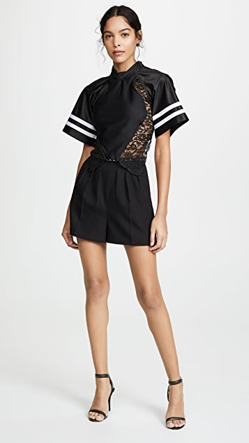 Alexander Wang Athletic Jersey Hybrid Top with Lace