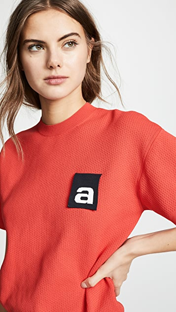 Alexander Wang Mesh Tee with Logo Flag