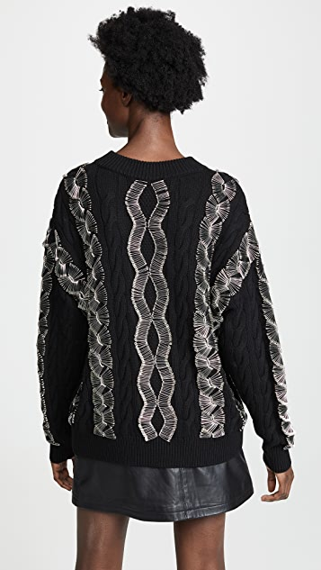Alexander Wang Crew Neck Pullover With Safety Pinned Cables