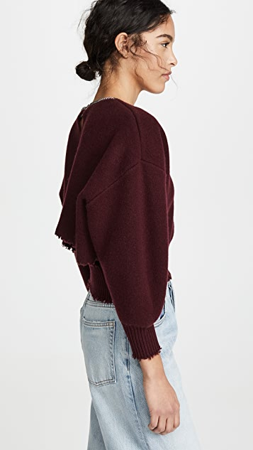 Alexander Wang Split Back Crew Neck Pullover With Chain Neckline