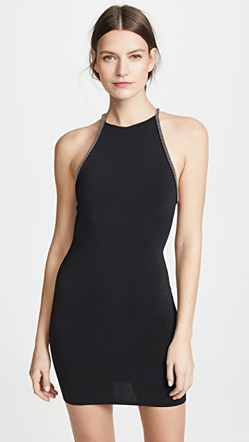 Alexander Wang Halter Dress with Tubular Ball Chain Trim
