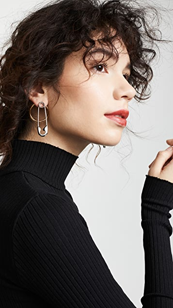 Alexander Wang Safety Pin + Hoop Earrings
