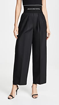 Cotton Trench Trousers with Logo Elastic Waistband