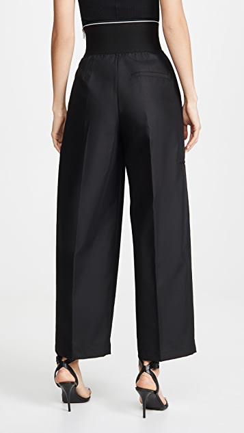 Alexander Wang Cotton Trench Trousers with Logo Elastic Waistband
