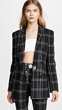 Peaked Lapel Jacket with Leather Trim