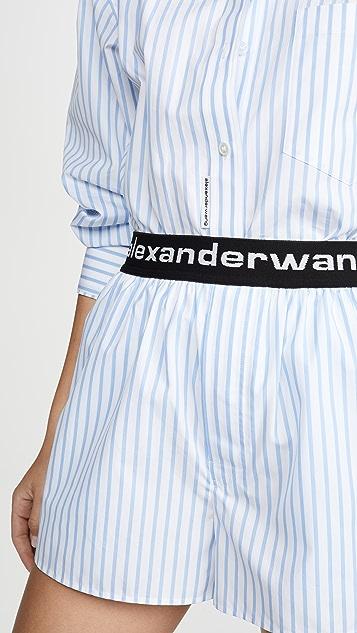 Alexander Wang 徽标松紧带平角短裤