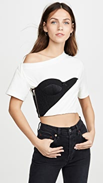 Draped T-Shirt with Bustier