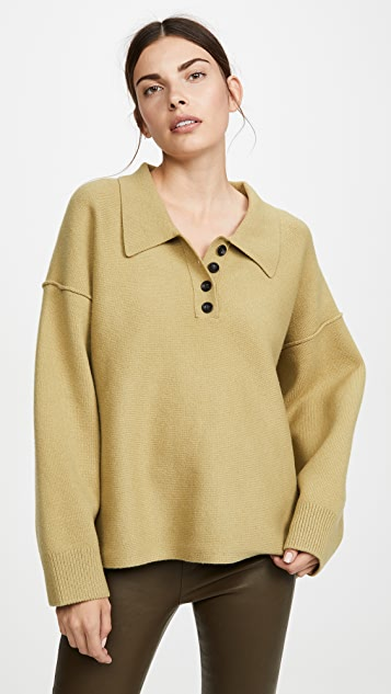 Oversized Long Sleeve Polo Shirt by Alexander Wang