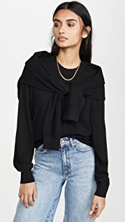 Alexander Wang Crew Neck Shoulder Tied Pullover