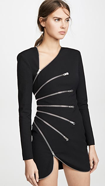 Alexander Wang Long Sleeve Sunburst Zip Dress